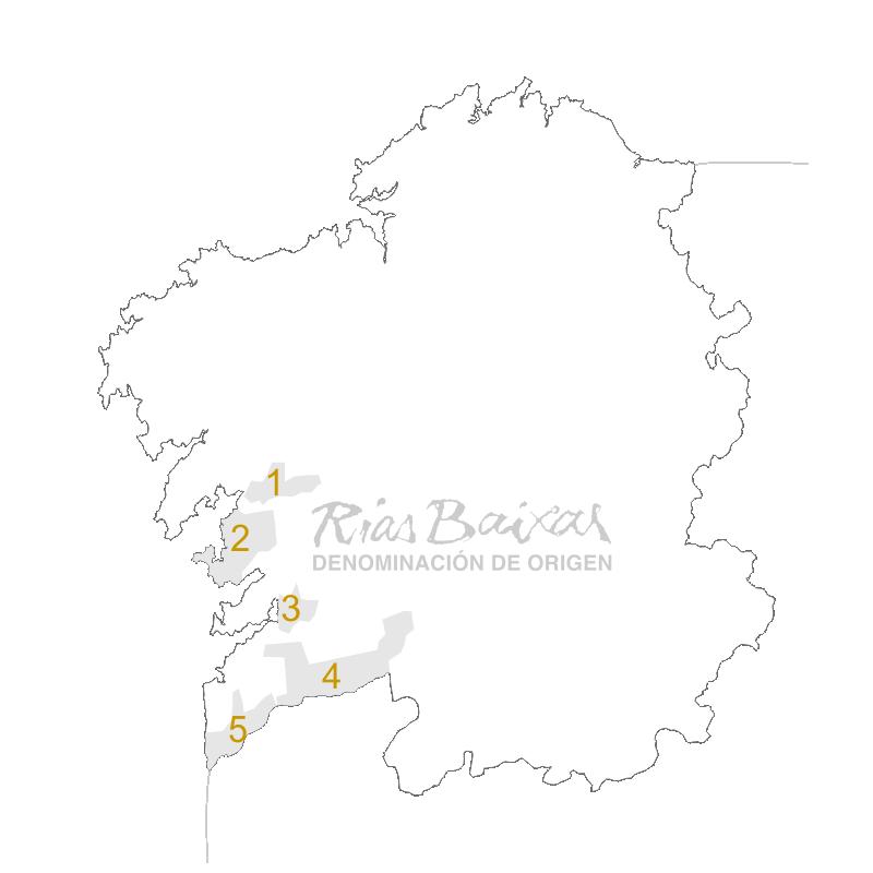 Mapa D.O. Rías Baxias, Galicia.