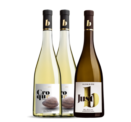 CROCaja de 3 botellas de 1 Justb+2 Croque. Albariño D.O. Rias Baixas.QUE 2+JUSTB1_CAJA_3-1024x952